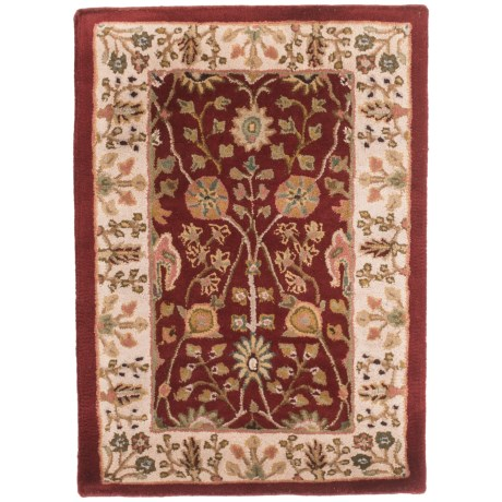Amer Cardinal Collection Floral Diamonds Accent Rug - 2x3', New Zealand Wool-Cotton in Red/Ivory