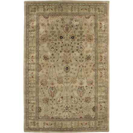 "Amer Cardinal Collection Floral Diamonds Accent Rug - 3'6""x5'6"", New Zealand Wool-Cotton in Gold/Gold - Closeouts"