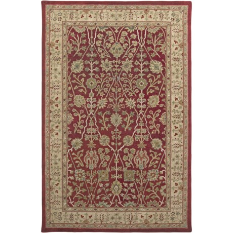 "Amer Cardinal Collection Floral Diamonds Accent Rug - 3'6""x5'6"", New Zealand Wool-Cotton in Red/Gold"