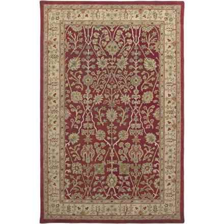 """Amer Cardinal Collection Floral Diamonds Area Rug - 5'6""""x8'6"""", New Zealand Wool-Cotton in Red/Gold - Closeouts"""