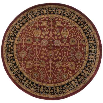 Amer Cardinal Collection Floral Diamonds Area Rug - 6' Round, New Zealand Wool-Cotton in Paprika/Ebony - Closeouts
