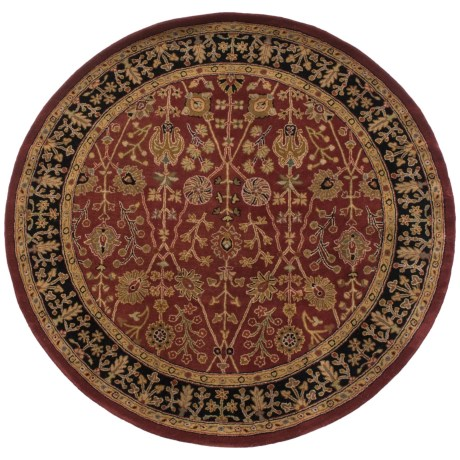 Amer Cardinal Collection Floral Diamonds Area Rug - 6' Round, New Zealand Wool-Cotton in Paprika/Ebony