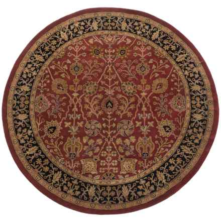 Amer Cardinal Collection Floral Diamonds Area Rug - 8' Round, New Zealand Wool-Cotton in Paprika/Ebony - Closeouts