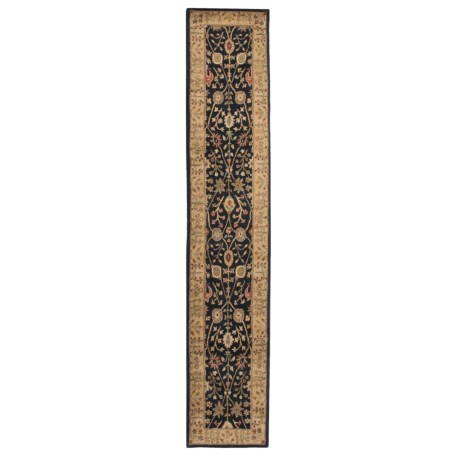 """Amer Cardinal Collection Floral Diamonds Floor Runner - 2'6""""x12', New Zealand Wool-Cotton in Ebony/Gold"""