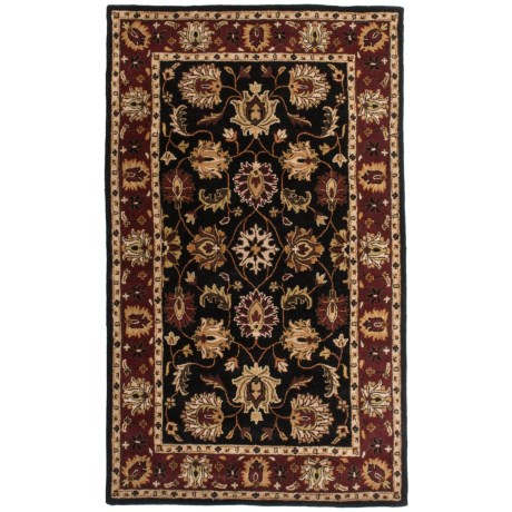 Amer Cardinal Collection Floral Star Area Rug - 5x8', New Zealand Wool in Black/Red