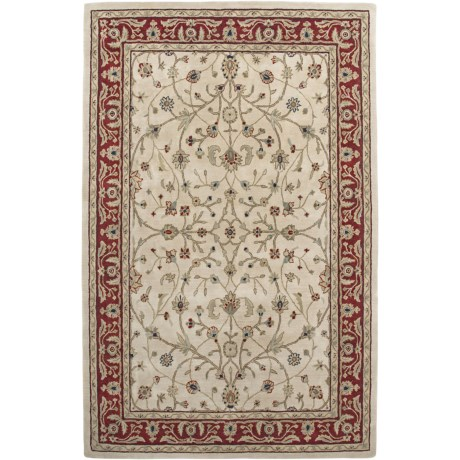 Amer Cardinal Collection Floral Vines Accent Rug - 2x3', New Zealand Wool in Ivory/Red