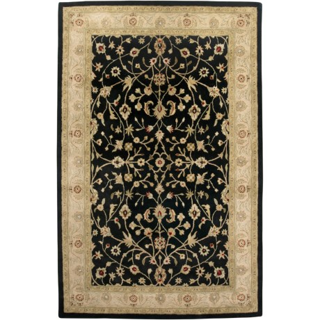 "Amer Cardinal Collection Floral Vines Accent Rug - 3'6""x5'6"", New Zealand Wool-Cotton in Ebony/Beige"