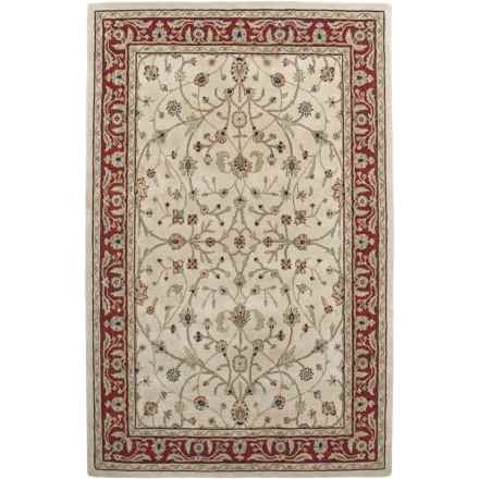 """Amer Cardinal Collection Floral Vines Area Rug - 5'6""""x8'6"""", New Zealand Wool-Cotton in Ivory/Red - Closeouts"""
