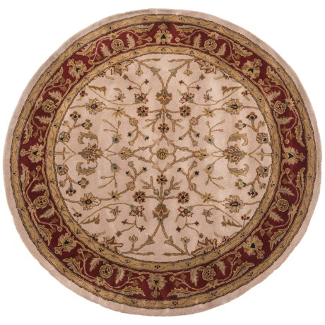 Amer Cardinal Collection Floral Vines Area Rug - 6' Round, New Zealand Wool-Cotton in Ivory/Red