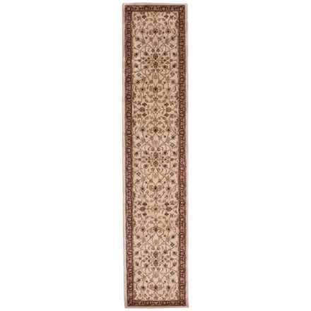 "Amer Cardinal Collection Floral Vines Floor Runner - 2'6""x12', New Zealand Wool-Cotton in Ivory/Red - Closeouts"