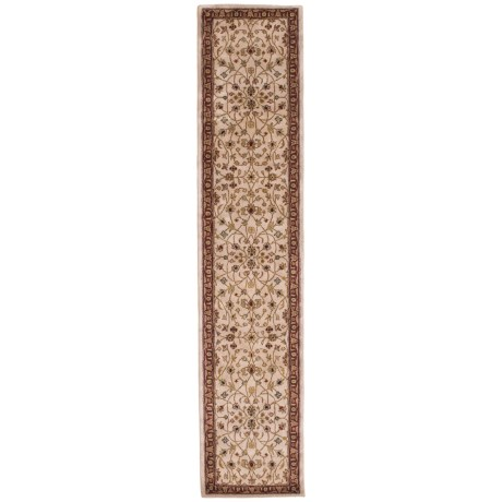 """Amer Cardinal Collection Floral Vines Floor Runner - 2'6""""x12', New Zealand Wool-Cotton in Ivory/Red"""