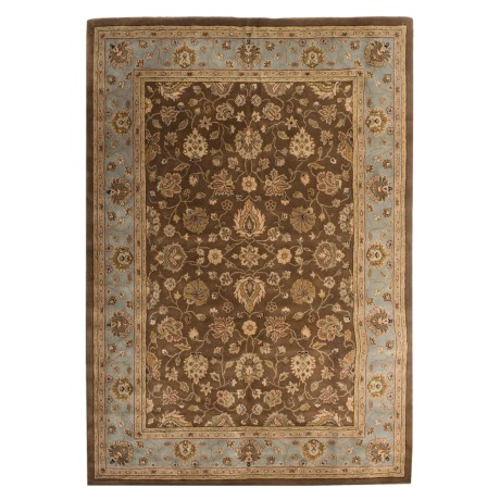 "Amer Cardinal Collection Multi-Border Area Rug - 8'6""x11'6"", New Zealand in Brown/Blue"