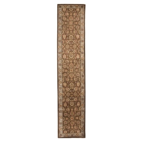 "Amer Cardinal Collection Multi-Border Floor Runner - 2'6""x12', New Zealand Wool in Brown/Blue"
