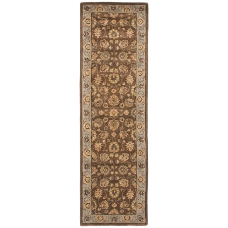 "Amer Cardinal Collection Multi-Border Floor Runner - 2'6""x8'6"", New Zealand Wool in Brown/Blue"