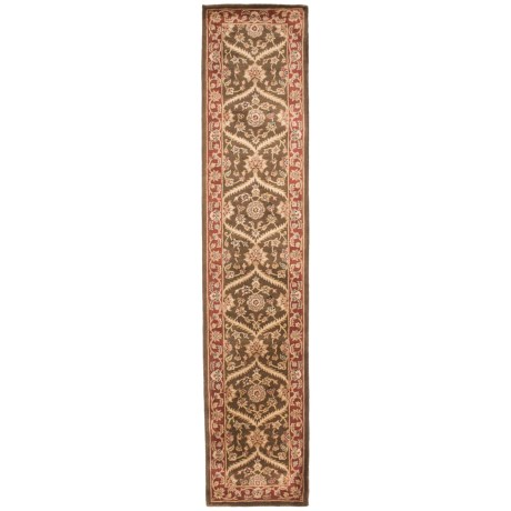 """Amer Cardinal Collection Rope Medallions Floor Runner - 2'6""""x12', New Zealand Wool in Cocoa Brown/Red"""