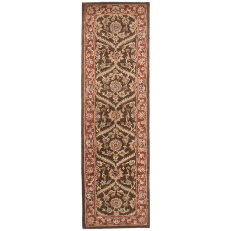 """Amer Cardinal Collection Rope Medallions Floor Runner - 2'8""""x8'6"""", New Zealand Wool in Cocoa Brown/Red"""