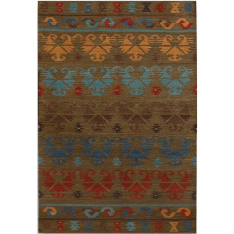 Amer Makamani Collection Green Area Rug - 5x8', Wool-Cotton in Green