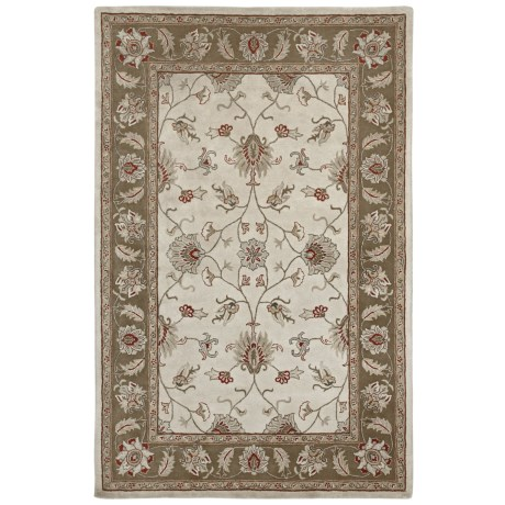 Amer Mosaic Collection Floral Medallion Accent Rug - 2x3', New Zealand Wool-Cotton in Camel/Brown