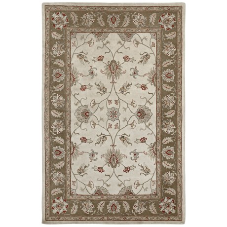 Amer Mosaic Collection Floral Medallion Area Rug - 8x11', New Zealand Wool-Cotton in Camel/Brown