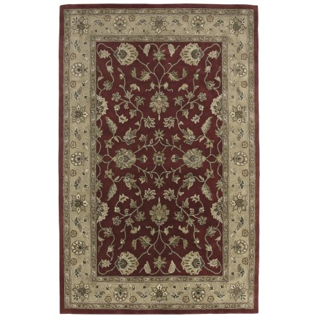 Amer Mosaic Collection Floral Vine Accent Rug - 2x3', New Zealand Wool in Brick Red/Beige