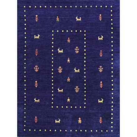 Amer Nomadic Area Rug - 5x8', Wool-Cotton in Navy Blue - Closeouts