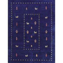 Amer Nomadic Area Rug - 9x12', Wool-Cotton in Navy Blue - Closeouts