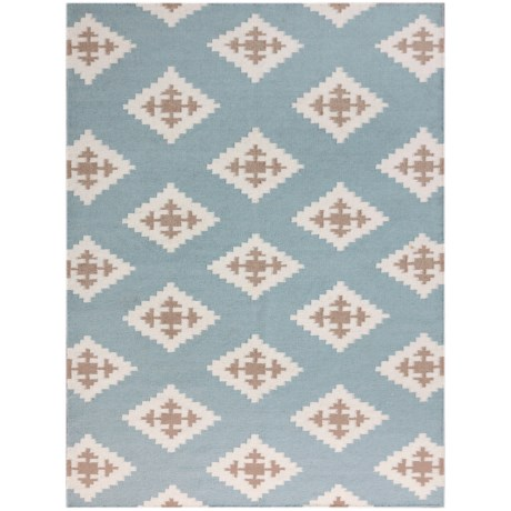 Amer Zara Collection Blue Chevron Area Rug - 5x8', Wool Blend in Chevron Blue