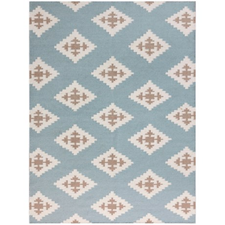 Amer Zara Collection Blue Chevron Scatter Accent Rug - 2x3', Wool Blend in Chevron Blue