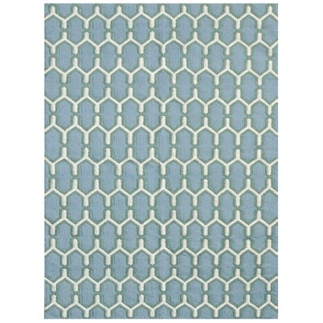 Amer Zara Collection Sky Blue Scatter Accent Rug - 2x3', Wool-Cotton in Sky Blue