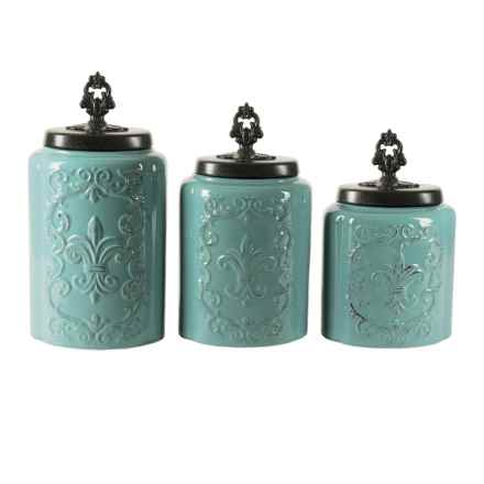 American Antelier Antique Stoneware Canister Set - 3-Piece in Blue - Overstock