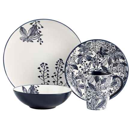 American Antelier Floral Earthenware Dinnerware Set - 16-Piece in Indigo/White - Overstock