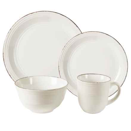 American Antelier Madelyn Stoneware White Dinnerware Set - 16-Piece in White - Overstock