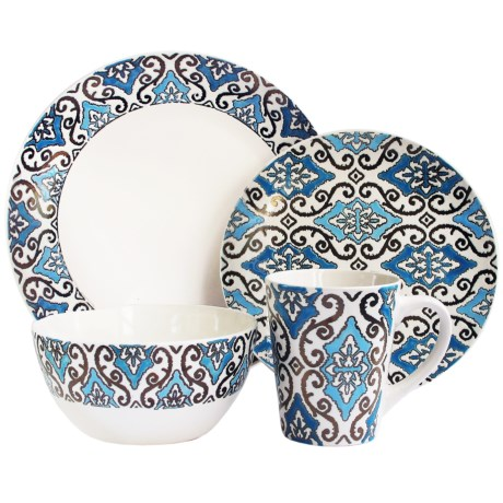 American Antelier Ogee Collection Stoneware Dinnerware Set - 16-Piece in Blue/White
