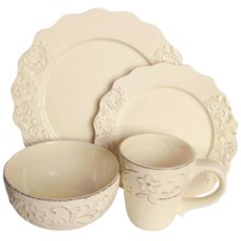 American Atelier Bianca Petals Dinnerware Set - 16-Piece, Ceramic in Cream - Closeouts