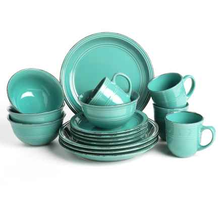 American Atelier Madelyn Collection Stoneware Dinnerware Set - 16-Piece in Aqua - Closeouts