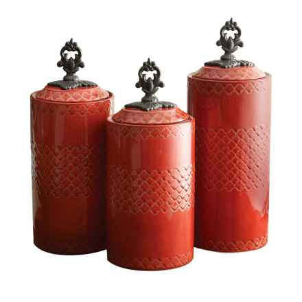 American Atelier Stoneware Canisters - Set of 3 in Red - Overstock