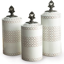 American Atelier Stoneware Canisters - Set of 3 in White - Overstock