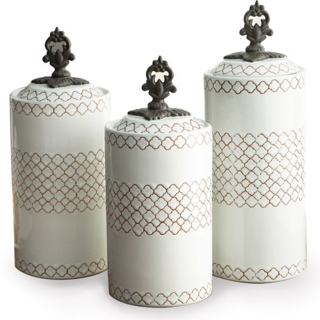 American Atelier Stoneware Canisters - Set of 3 in White