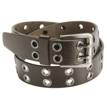 American Beltway 2 Prong Leather Belt - Nickle Buckle (For Men) in Brown - Closeouts