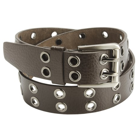 American Beltway 2 Prong Leather Belt - Nickle Buckle (For Men) in Brown