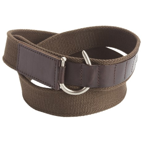 American Beltway Canvas and Leather Belt (For Men) in Brown