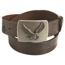 American Beltway Leather Belt - Eagle Plaque Buckle (For Men) in Brown - Closeouts