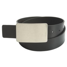 American Beltway Leather Belt - Nickle Plaque Buckle (For Men) in Black - Closeouts
