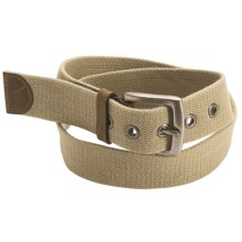 American Beltway Leather Tab Web Belt (For Men) in Khaki - Closeouts