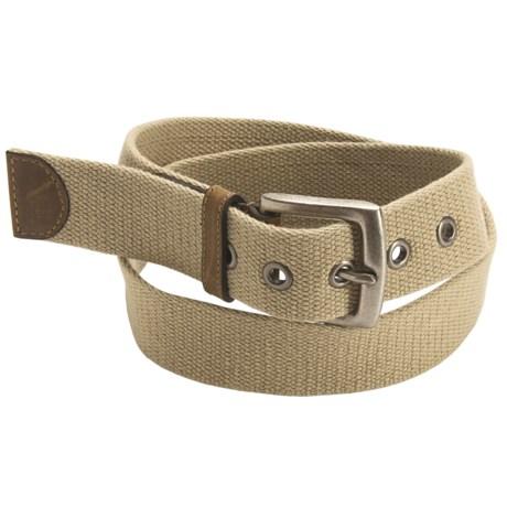 American Beltway Leather Tab Web Belt (For Men) in Khaki