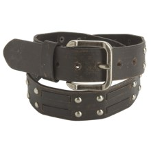 American Beltway Nickel Rivet Accent Leather Belt (For Men) in Black - Closeouts