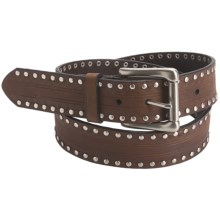 American Beltway Nickel Rivet Edged Leather Belt (For Men) in Brown - Closeouts