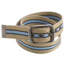 American Beltway Striped Web Belt (For Men) in Khaki - Closeouts
