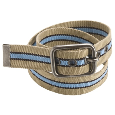 American Beltway Striped Web Belt (For Men) in Khaki