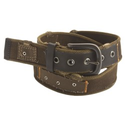 American Beltway Webbing Belt - Black Buckle (For Men) in Brown